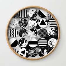 eclectic circles black and white abstract geometric textured designs wall clock