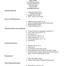 Staggering College Application Resume Formatsplates Sample For High