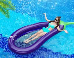 floating eggplant shape air sofa bed hollow mesh lounge chair swimming pool