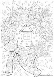 plain christmas wreath coloring page. Beautiful Christmas Christmas Wreath Doodle Colouring Page And Plain Coloring T