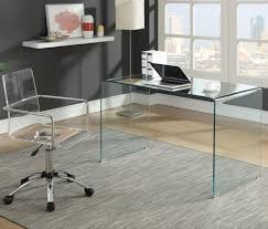 2 PC Caraway Clear Glass Desk & Chair Set 801581