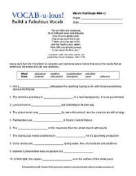 Vocab Building Worksheets Vocab U Lous Build A Fabulous Vocab Worksheet For 9th