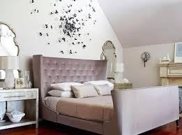 Romantic bedroom interior Husband Romantic Wall Decoration And Upholstered Bed In Light Grayishpurple Color Butterflies Decorations Vintage Decor Lushome Stylish Tips For Romantic Bedroom Decorating And Good Feng Shui