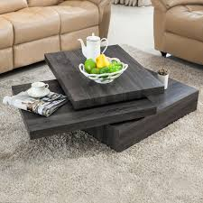 modern black oak square rotating wood coffee table with 3 layers living room 1 of 12only 1 available