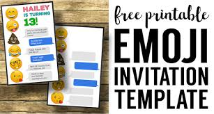 Free Birthday Invitation Templates With Photo Emoji Birthday Invitations Free Printable Template Paper Trail Design