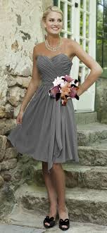 Simple Cheap Silver Grey Bridesmaid Dresses Knee Length Chiffon