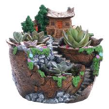 Succulent Pot Design Us 30 64 33 Off Winomo Artificial Flowers Succulent Plants Pot Hanging Garden Design With Sweet House In Flower Pots Planters From Home Garden