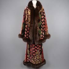 la size oscar de la renta size 8 quilted floral paisley velvet fox fur
