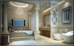 ceiling light and crystal chandelier for bathroom lighting scheme