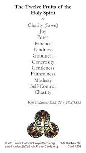 the holy spirit gives us his gifts we return the love with these fruits they make a wonderful gift
