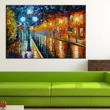 Living Room Oil Paintings Hand Painted Colorful Oil Painting On Canvas Street After The Rain