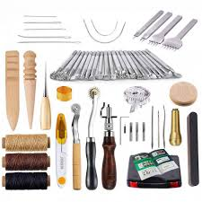59 pcs leather craft hand tools kit for hand sewing stitching stamping set and punch tools carving working sewing saddle groover malaysia
