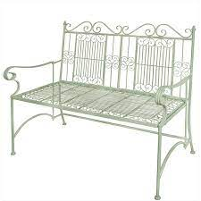 old rectory metal bench sage green