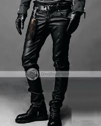 leather jeans men fashion coating straight slim low waist pants mens look uk leather jeans men