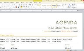 Pta Templates School Pta Meeting Agenda Template For Word