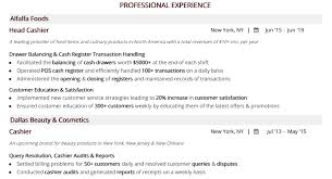 experience as a cashier cashier resume the complete 2019 guide with 20 samples