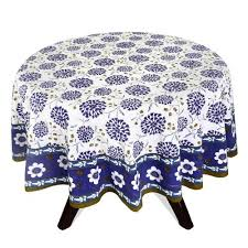 round tablecloth modern india 70 inches diameter cotton blue