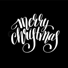 merry christmas black and white script. Fine White Merry Christmas Black And White Handwritten Lettering Inscription Holiday  Phrase Typography Banner With Brush Script Calligraphy Vector Illustration  Throughout Christmas Black And White Script