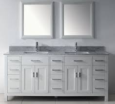 75 white finish asta double vanity country style carerra marble top sink