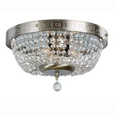 hampton bay 14 in 3 light brushed nickel flushmount with crystal accents