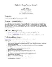 New Graduate Nursing Resume Examples New Nurse Graduate Nursing