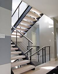 Extensive modern staircase with cable railing by Stainless Cable & railing.  | Modern Home Interior