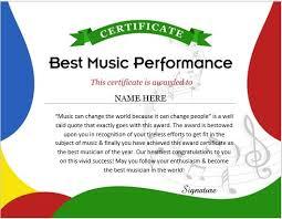 Performance Certificate Sample Music Performance Certificate Wording Templates Formal