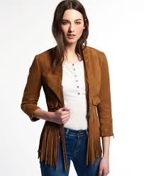 sentinel new womens superdry neonomad fringe suede jacket tan suede