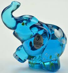glass elephant figurine art glass hand painted blue elephant figurine ca hall tall murano glass elephant glass elephant