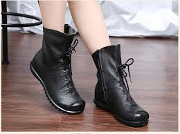 vintage style genuine leather women boots flat booties soft cowhide women s shoes front zip ankle boots