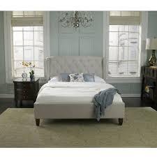 Premier Monticello Queen Upholstered Platform Bed Taupe With Bonus Base  Wooden Slat System