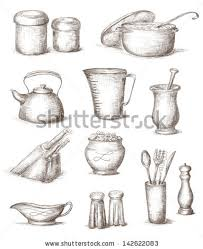 kitchen utensils drawing. Hand Drawn Illustration Of Kitchen Utensils Drawing R
