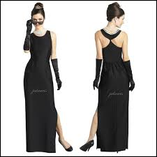 Audrey Hepburn Breakfast at Tiffany s Long Black Maxi Dress Gown.