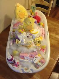 gift ideas for the homebound. a cute diy new baby gift ideas. the base of tub is filled with diapers. ideas for homebound d
