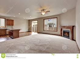 Living Room Carpet Large Empty Living Room Interior With Carpet Floor And Fireplace