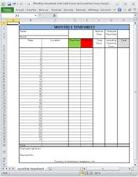 timesheet hours monthly printable excel timesheet with total hours and overtime