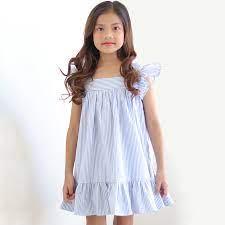 Đầm Bé Gái Xanh Kẻ Cổ Vuông Tay Cánh Tiên K112 - Đầm bé gái Hãng KIKA