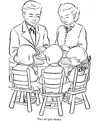 Small Picture Thanksgiving Dinner Coloring Page Sheets Family praying over