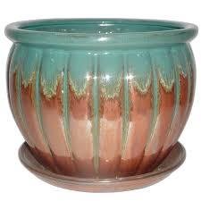 allen roth 8 86 in w x 7 87 in h copper green ceramic planter