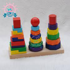Tháp chồng 3 cọc montessori - Đồ chơi an toàn phát triển trí tuệ, rèn luyện  tập trung, khéo léo cho bé 2 tuổi