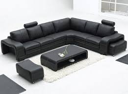Modern Leather Living Room Set Remarkable Modern Bonded Leather Sectional Sofa In Black With L