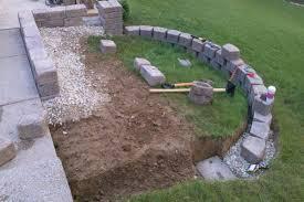 paver stones on retaining wall