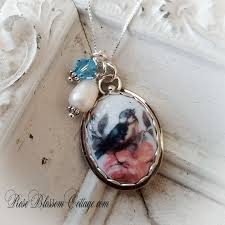 add to my lists blue bird pink rose oval broken china jewelry pearl sterling pendant necklace