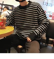 2019 Spring Autumn <b>New Men</b> Fashion Casual Loose Stripe Round ...