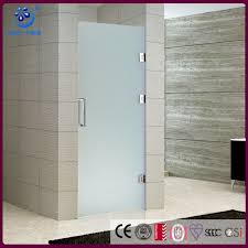 single swing frameless hinged glass shower door enclosure frosted glass swing in or out