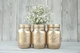 rustoleum gold spray painted mason jars