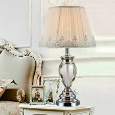 Charming American Rustic Style Cast Iron Table Lights Bedroom Bedside Table Crystal  Table Lamps For Bedroom