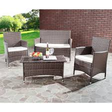 safavieh mojavi brown 4 piece wicker patio seating set with beige cushions