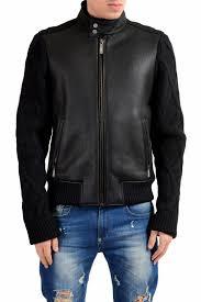 just cavalli men s 100 leather shearling wool black full zip jacket us s it 48