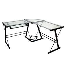 walker edison black glass corner computer desk  home  furniture